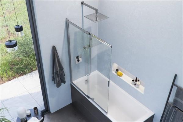 Шторка для ванни двосекційна розсувна LINER